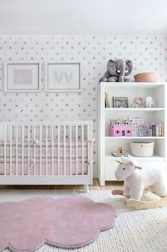 Pink Cloud Shaped Rug with White Crib - Contemporary - Nursery