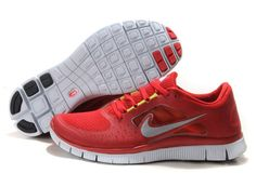 Nike Free Run 3 Mens Running Shoes - Red Sneakers