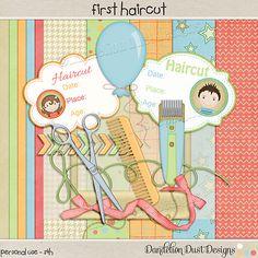 Digital Scrapbooking First Haircut Mini Kit By Dandelion Dust Designs #DandelionDustDesigns #DigitalScrapbooking #FirstHaircut
