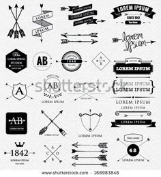 Vintage design elements. Retro style. arrows, labels, ribbons, symbols such as logos. by RLN, via Shutterstock