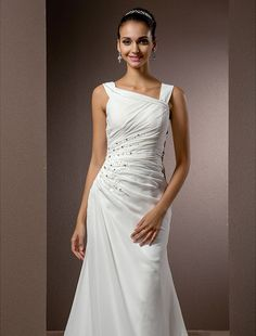 0d122aae40   159.99  Sheath   Column Square Neck Court Train Chiffon Made-To-Measure Wedding  Dresses with Beading   Side-Draped by LAN TING BRIDE®   Vintage Inspired