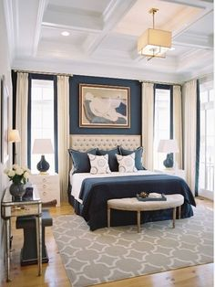 Navy is a versatile blue hue in that it acts as a neutral. Similar to how you can pair a shirt of any color with dark denim jeans, paint a full or partial accent wall navy blue and you can work in almost any other color.