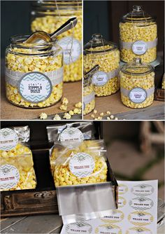 Fun and will work if we have a popcorn machine. kettle corn wedding favors DIY popcorn bar for guests