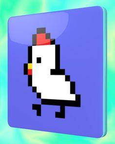 Dot Chicken Square Coaster / #Tableware #Animal #Bird