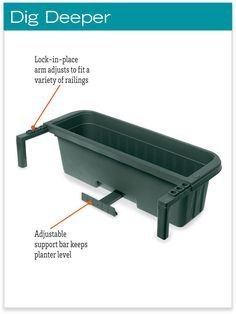 """Railing Planters 36"""" - Accommodate 1"""" to 4.25"""" Thick Deck Railings"""