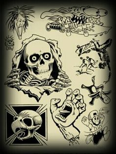 """""""Skate Two"""" Mike Giant (Poster Child Prints) Skateboard Tattoo, Skate Tattoo, Skateboard Art, Dark Art Drawings, Tattoo Drawings, Dessin Old School, Mike Giant, Tatuagem Old School, Tattoo Flash Art"""