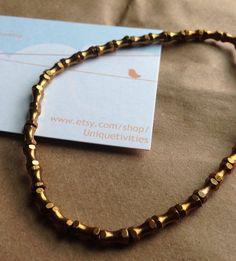 Mens vintage raw brass barbell bracelet on Etsy, $12.00