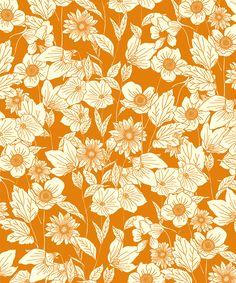 floral, simple, one colour, design, traditional, flowers, autumn, orange