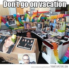 An inspiring workplace. Lol definitely need to do this for the next birthday! Work Pranks, Office Humor, Office Prank, Office Fun, Senior Pranks, Nicolas Cage, Blunt Cards, Good Humor, April Fools
