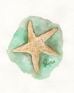 Starfish/ watercolor print/teal/light green/Archival Print via Etsy