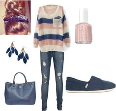 """""""peach and navy blue"""" by sagravel on Polyvore"""