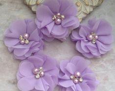 Fleurs en mousseline de soie perles et strass fleurs fleurs
