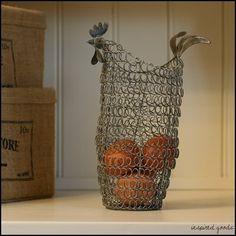 Tall Rustic Wire Chicken Egg Basket Holder