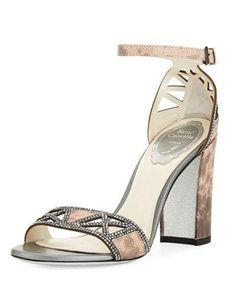 42d95107e S266P Rene Caovilla Strass Karung Embellished Sandal Grey Sandals