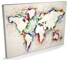 make your own world map with melted crayons. place the world's silhouette on a canvas and add color by holding your hair-drier in front of the crayons, so that the color will be blown on the canvas. after you've finished, remove the cut-out world map and let it dry. that's it.