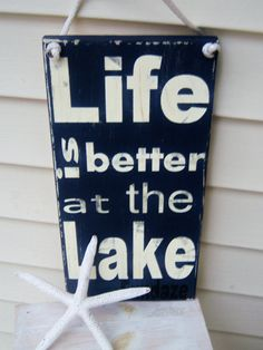 Life is better at the lake, wood sign- with nautical rope-lakehouse-cabin