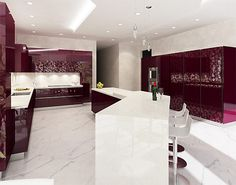 LOVE the Burgandy tones in this very chic Minimalist kitchen