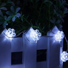 Artificial Outdoor Christmas Led Lights, Hamaker 10M Snowflake Shaped DC 100-240V Silver Color Wire Party Flood Lights for Home,Outside White Christmas Shop Decorative Lights ^^ Discover this special product, click the image : Garden Christmas Decorations