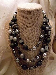 Vintage West Germany Black Marble Art Glass Crystal Tri Strand Necklace #WestGermany #StrandString