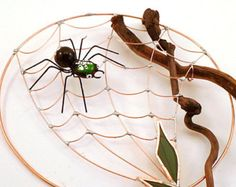 Small Round Handmade Copper Spider Web with Spider Perfect Gift for Entomologists and Bug Lovers
