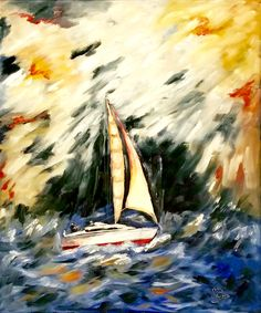 'Sailing' Oil painting  60 x 70  Frame included  For sale