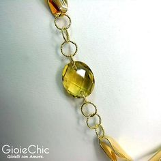 18Kt yellow gold with 2 citrine 10x12mm necklace.  Details.  www.gioiechic.com