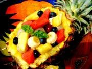 Thai Fruit Salad - a great Summer fruit salad.  Dragon fruit, pineapple, blue berries, bananas, watermelon.  Can also add or substitute kiwi, mango, canteloupe or oranges.
