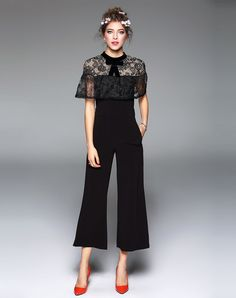 #AdoreWe #VIPme Jumpsuits & Rompers - TOO TANG Black Lace Patched Bowknot Jumpsuit - AdoreWe.com