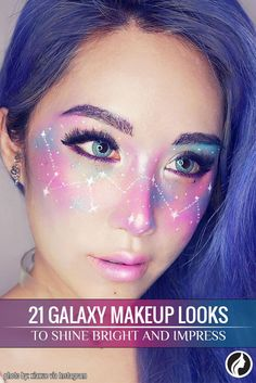 Galaxy makeup is suitable for artistic and bold women who are looking for something new. You will be the real star at a party in case you wear it.