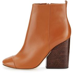 Tory Burch Grove Leather 100mm Block-Heel Bootie ($450) ❤ liked on Polyvore featuring shoes, boots, ankle booties, short boots, block heel booties, round toe ankle boots, block heel boots and tory burch booties
