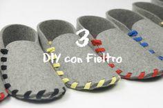 3 DIY con fieltro. 3 proyectos con fieltro. Cómo hacer unas zapatillas, un cesto y un sobre usando fieltro. 3 proyectos en los que prima un buen patrón