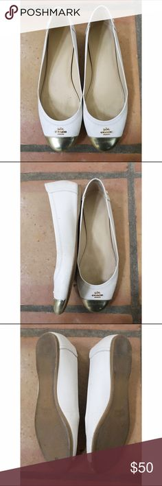 Coach flats Worn a few times. In great condition! Lovely cream color base with gold toe and coach logo Coach Shoes Flats & Loafers