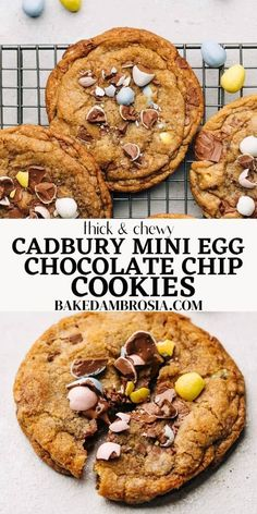 The BEST Cadbury Mini Egg Cookie recipe – crispy edges with soft and chewy centers, these easy festive cookies made with simple ingredients are the only cookie recipe you will need this Easter/spring! #cadburyeggcookies #cadburyminieggcookies #eastercookies #milkchocolatechipcookies #bakedambrosia | bakedambrosia.com No Egg Cookie Recipe, Best Cookie Recipes, Sweet Recipes, Mini Eggs Cookies, Easter Cookies, Delicious Desserts, Dessert Recipes, Yummy Food, Milk Chocolate Chip Cookies