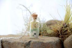 Terrarium bottle necklace botanical jewelry mini by VeinsOfNature