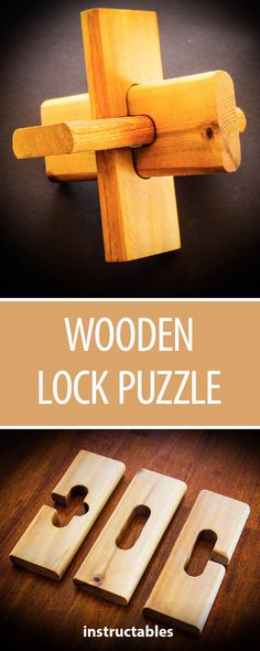 Wooden Lock Puzzle  #toy #woodworking