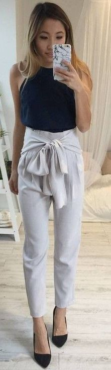 #fall #executive #peonies #outfits | Black Top + White 'Bow Time' Pants