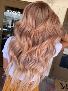 rose gold hair color - All For Hair Color Balayage Blond Pastel, Blond Rose, Pastel Pink Hair, Rose Gold Hair Blonde, Peachy Hair Color, Copper Rose Gold Hair, Rose Gold Balayage, Cabelo Rose Gold, Balayage Long Hair