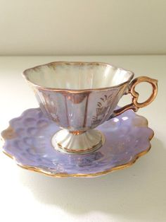 Vintage Pedestal Opalescent Demitasse Tea Cup by MariasFarmhouse
