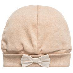 Baby Girls Beige Organic Cotton Jersey Hat , Naturapura, Girl