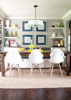 I love this dining room set-up. Could work in our house.   via Cape27 blog.