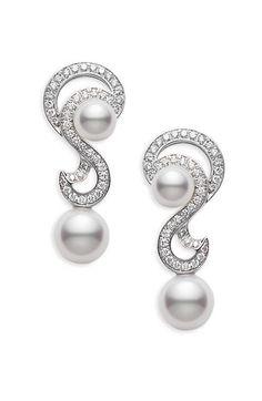 80 best bling with pearls images on pinterest pearl jewelrymikimoto \u0027laguna\u0027 akoya cultured pearl \u0026 diamond earrings nordstrom