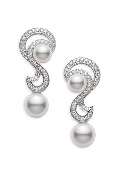 Mikimoto Laguna Earrings. Pearls and Diamonds. Available from Rudell the Jewellers www.rudells.com Tel: 01214271904