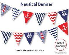 Nautical banner printable banner nautical DIY by BetsyRainbow, $2.00