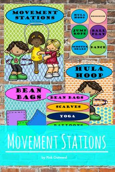 Incorporating movement into the day in stations - use in literacy or math centers. Use for PE or for therapies. Use as a movement area in the classroom!