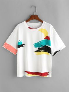 White Graffiti Print T-shirt