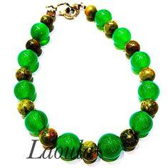 Bracelet créateur en agate verte, bijoux pas chers