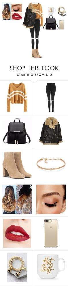 """Başlıksız #397"" by belinda-bailey ❤ liked on Polyvore featuring Topshop, Acne Studios, Yves Saint Laurent, Kenneth Jay Lane, Avon, Jouer, Speck and Happy Plugs"