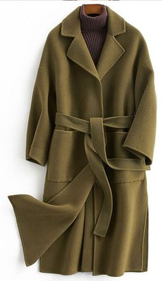top quality Loose fitting long coat tie waist green Notched woolen out – SooLinen Long Winter Coats, Winter Coats Women, Coats For Women, Winter Dress Outfits, Casual Dress Outfits, Green Coat, Green Winter Coat, Plus Size Coats, Mode Hijab