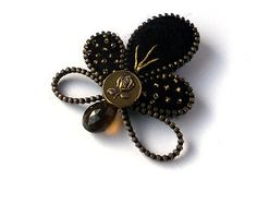 Stylish Zipper Brooch with Rose, Black Felt Leaf with Buttonand Smoky Quartz , Pinki Handmade Jewelry