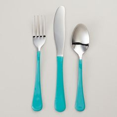 4 forks or 4 spoons or 4 knives SET of four $9.56 One of my favorite discoveries at WorldMarket.com: Turquoise Enamel Flatware